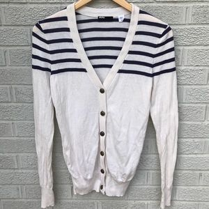 BDG. Striped Off White & Navy Cardigan Sweater